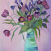 Purple Belle Bouquet  Tulips And Irises Poster