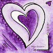Purple Heart Love Painting Pop Art Blessed By Megan Duncanson Poster by Megan Duncanson