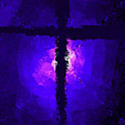 Purple Light Behind The Cross Poster