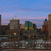 Purple Sky Above Downtown Baltimore Poster