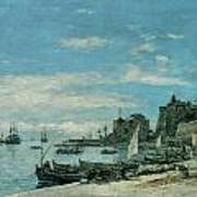 Quay At Villefranche Poster by Eugene Boudin