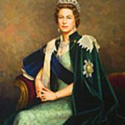 Queen Elizabeth II Portrait - Oil On Canvas Poster