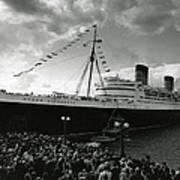 Queen Elizabeth Ship In Harbor By Barney Stein Poster