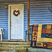 Quilt On The Front Porch Poster