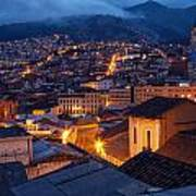 Quito Old Town At Night Poster