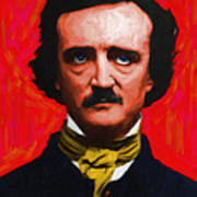 Quoth The Raven Nevermore - Edgar Allan Poe - Painterly Poster by Wingsdomain Art and Photography