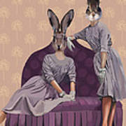 Rabbits In Purple Poster by Kelly McLaughlan