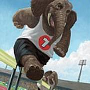 Racing Running Elephants In Athletic Stadium Poster by Martin Davey