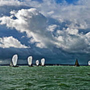 Racing Yachts In The Solent Poster