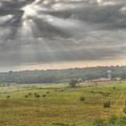 Radiant Light Over The Farm Poster