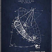 Radio Telescope Patent From 1968 - Navy Blue Poster