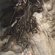 Raging, Wotan Rides To The Rock! Like Poster by Arthur Rackham