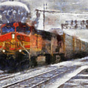 Railroad Bnsf Engine Photo Art Poster