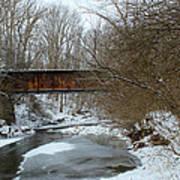 Railroad Bridge In Winter Poster