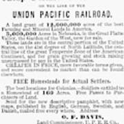 Railroad Land Sale, 1872 Poster
