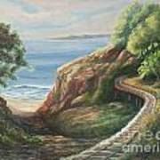 Railroad Track By The Beach Poster