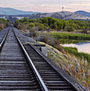 Railroad Tracks Leading To The Mountains Poster