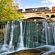 Railroad Waterfall Poster