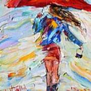 Rain Dance With Red Umbrella Poster