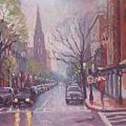 Rain On Newbury St Poster