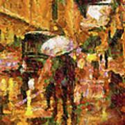 Rain Walk At Night Abstract Poster