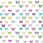 Rainbow Butterfly Pattern Poster