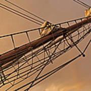 Tall Ship Meets Rainbow Poster
