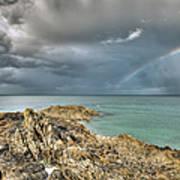 Rainbow In Storm Clouds Pointe De Saint Cast  Poster