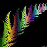 Rainbow Leaves Fractals Poster
