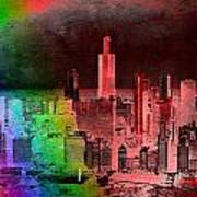 Rainbow On Chicago Mixed Media Textured Poster