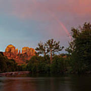 Rainbow Over Cathedral Rocks Poster