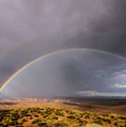 Rainbow Over Desert Poster