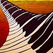 Rainbow Piano Keyboard Twist In Acrylic Paint With Sheet Music Notes In Blue Yellow Orange Red Poster