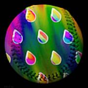 Rainbow Showers Baseball Square Poster