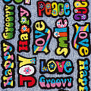 Rainbow Text Poster by Tim Gainey