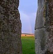 Rainbow Through Stonehenge Sarsens Poster