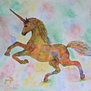 Rainbow Unicorn In My Garden Original Watercolor Painting Poster