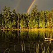 Rainbows Over Otter Lake Poster by Thomas Pettengill
