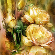 Raindrops On Yellow Roses Poster