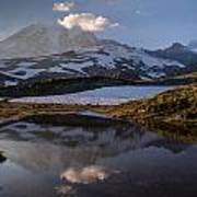 Rainier Reflected In A Glacial Tarn Poster