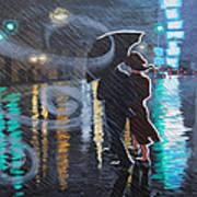 Rainy City Street Poster
