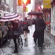 Rainy Corner - New York City Poster
