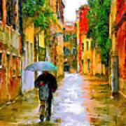 Rainy Walk In Venice Poster