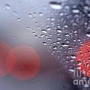 Rainy Windshield Brake Lights Poster