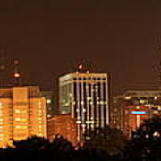 Raleigh Skyline At Night Poster