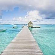 Rangiroa Atoll Pier On The Ocean Poster