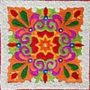 Rangoli Made With Coloured Sand Poster
