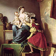 Raphael Adjusting His Model's Pose For His Painting Of The Virgin And Child  Poster