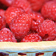 Raspberries In A Basket Poster