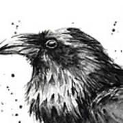 Raven Watercolor Portrait Poster